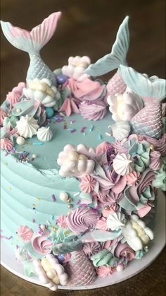 Mermaid Birthday Cakes, Cute Birthday Cakes, Beautiful Birthday Cakes, Beautiful Cakes, Amazing Cakes, 4th Birthday, Mermaid Cookies, Mermaid Cupcakes, Little Mermaid Cakes