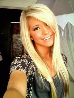blonde hair, side-swept bangs