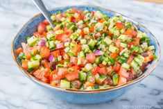 Israeli Salad is a must make Middle Eastern Recipe that is full of flavor! This salad is also known as Shirazi Salad (Persian Cucumber and Tomato Salad). Greek Salad Recipes, Best Salad Recipes, Kebab Recipes, Paleo Recipes, Cooking Recipes, Low Carb Salad Dressing, Salad Dressing Recipes, Kofta Kebab Recipe, Fresco