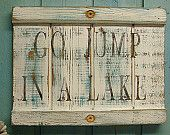 Go Jump In A Lake White Turquoise Weathered Wood Beach House Sign