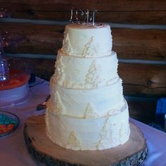Ivory Four Tier rustic theme buttercream cake  Created by Cake Kouture by Char Denver Co