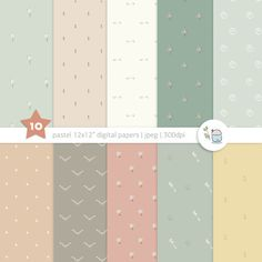 """Pastel Digital Papers. 12x12"""" printable hand-drawn patterns for scrapbooking, cards, background. Instant Download."""