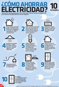 Sigue las recomendaciones de la Comisión Federal de Electricidad (CFE) para ahorrar energía eléctrica en tu hogar. #Infografia