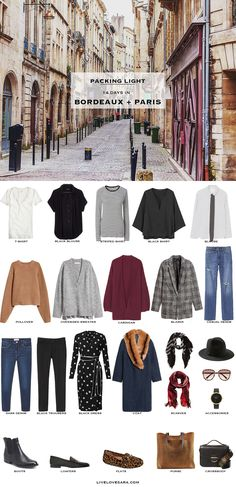 14 Days in Bordeaux and Paris. Packing Light List. What to Pack. Fall Travel Capsule Wardrobe 2017