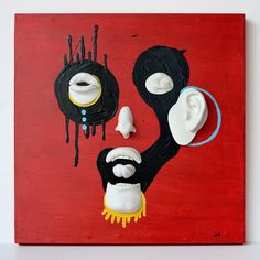 "Misfits. 13.75x13.75x2"" mixed media sculpture / painting. Abstract face, portrait, modern, contemporary, face cast, body parts, bold, scary, conceptual, red, blue, yellow, black, white, Natalia Berglund."