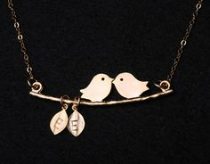 Custom Two Initial Leaf Necklace,bird on the branch,Kissing Love Birds by   tydesign on etsy