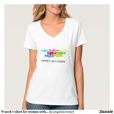V-neck t-shirt for women with cute design