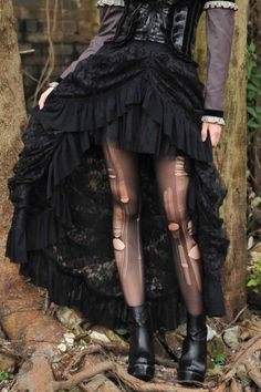 Dark Doll Black Lace Fishtail Skirt by RQBL | Ladies Gothic