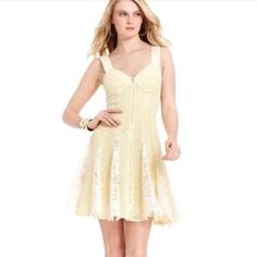 e3fa85bdef Betsey Johnson Yellow Dress With Lace Gored Skirt