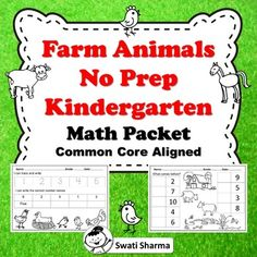 Farm Animals No Prep Kindergarten Math Packet, Distance Learning Number Worksheets, Printable Worksheets, Kindergarten Math, Teaching Math, Math Vocabulary, Maths Puzzles, Classroom Displays, Farm Animals, Prepping