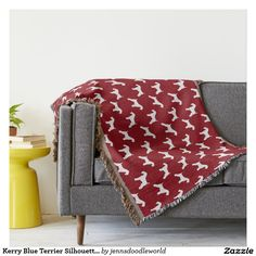 Kerry Blue Terrier Silhouettes Pattern Red Throw Blanket