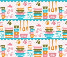 Pyrex love - BRIGHTS fabric by jumping_birds on Spoonflower - custom fabric