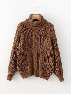 2bfc8a565af Shop Turtleneck Cable Knit Sweater online. SheIn offers Turtleneck Cable  Knit Sweater   more to