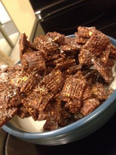 A tasty (gluten-free) snack  - Chex cereal, semi-sweet chocolate chips, peanut butter...