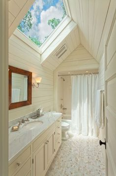 The Bathroom Designs, Outstanding Hexagon Tile Floor With Skylight Combined With Marble Counters And Shower Curtain Feat Wood Paneling And Framed Mirror For Rustic Bathroom: Stunning Photo Gallery Of Skylight For Bathrooms Design Skylight Bathroom, Attic Bathroom, Upstairs Bathrooms, Small Bathroom, Bathroom Ideas, Skylight Window, Window Privacy, Room Window, Bathroom Green