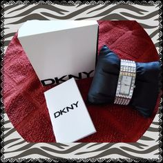"DKNY silver crystals watch With org. Box and book some wear signs on clip side and back not really notable battery working no extra links 6-3/4"" wrist size in good condition DKNY Accessories Watches"