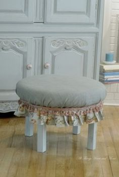 DIY:: From end table to charming Little Ottoman ! Great Tutorial by All Things Heart and Home
