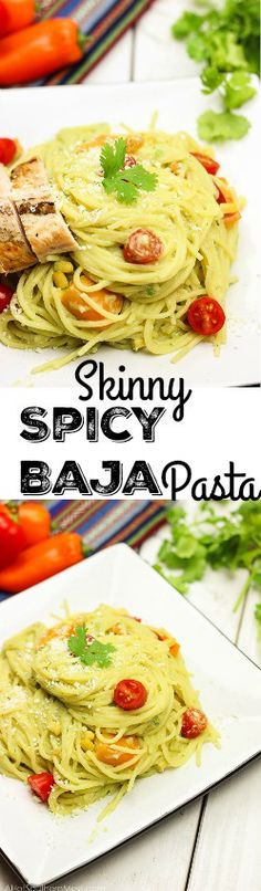 This skinny spicy baja pasta packs a punch of flavor without all the unhealthy ingredients!  The avocado base makes a creamy sauce appear that is just to die for! A must try dish that only takes minutes to prepare! www.blessherheartyall.com