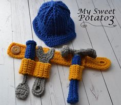 Construction Set Tool Belt Hard Hat – Hammer, Wrench, Screwdriver – Crochet Pattern – Awesome Knitting Ideas and Newest Knitting Models Crochet For Boys, Cute Crochet, Crochet Crafts, Yarn Crafts, Double Crochet, Single Crochet, Crochet Projects, Crochet Amigurumi, Crochet Toys
