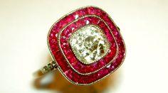 Cushion Old Cut Diamond & Ruby Engagement Ring