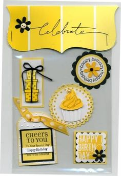 Card Candy -- LOVE this color scheme and layout..  I guess you have to be a S/U demo to access this site.  Wonder what these are?  Convention exchanges?  Are they just embellishments on vinyl to easily attach to cards?? by latonya