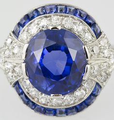 Natural Burma Sapphire And Diamond Art Deco Platinum Ring image Sapphire Jewelry, Sapphire Rings, Diamond Jewelry, Gems Jewelry, Gemstone Jewelry, Jewelry Art, Unique Jewelry, Vintage Jewelry, Lazuli