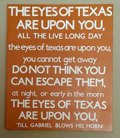 The Eyes of Texas University of Texas Subway Art | Available on Etsy | Hook 'em Horns
