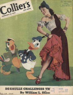 "Jose Carioca, Donald Duck and Aurora Miranda from ""The Three Caballeros"" on cover of Collier's magazine (1945-02-24)"