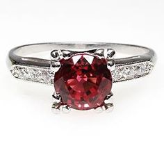 ANTIQUE NATURAL RUBY & DIAMOND ENGAGEMENT RING SOLID PLATINUM