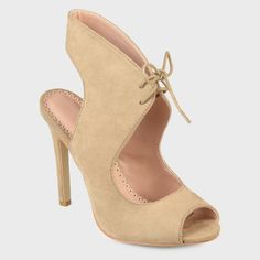Women's Journee Collection Lace-up Open Toe High Heels - Nude 8.5