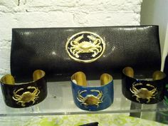 leather clutch with crab