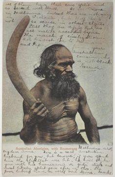 Postcard - Aboriginal Australian with Boomerang, To Anna Scott from Marion Flinn, Melbourne, 16 Apr 1907