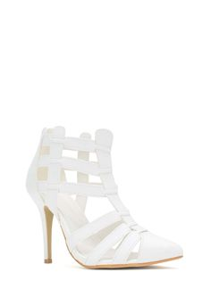 Cage Me In Pointy Heels BLACK WHITE TAN
