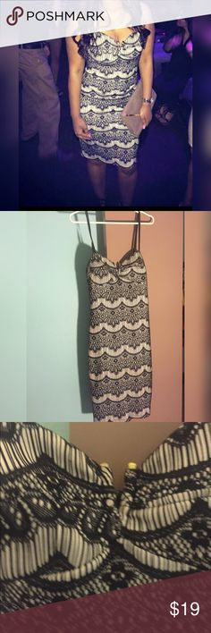 Guess spaghetti strap dress Beautiful spaghetti strap crochet dress is in perfect condition. Great for a night out. This dress is knee length. Guess Dresses