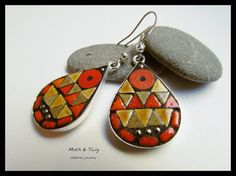 Mosaic Art Jewelry, rustic dangle teardrop mosaic earrings, Moroccan ceramic tiles, silver beads, set in high quality sterling silver overlay brass frames, by MothAndTwig. $34. For more details, click here: https://www.etsy.com/listing/213253012/mosaic-art-jewelry-dangle-teardrop?ref=related-6