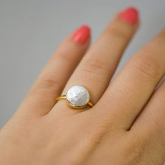 White Pearl Ring  Pearl Ring  Bridal Ring  Bezel Set by delezhen, $62.00