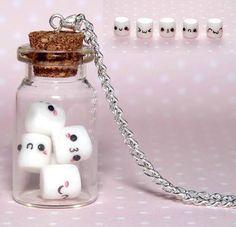 kawaii marshmallows in mini bottle Fimo Kawaii, Polymer Clay Kawaii, Fimo Clay, Polymer Clay Charms, Polymer Clay Creations, Polymer Clay Disney, Kawaii Crafts, Bottle Charms, Bottle Necklace
