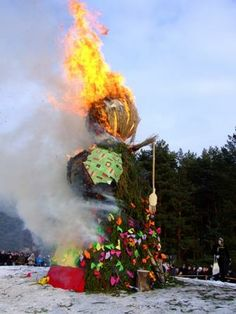 Užgavėnės begins on the night before Ash Wednesday, when an effigy of winter (Morė) is burnt.  symbolize the defeat of winter in the Northern Hemisphere. staged battle between Lašininis personifying winter and Kanapinis personifying spring. Devils, witches, goats, the grim reaper and other  characters appear in costumes during the celebrations. The participants and masqueraders dance and eat the traditional dish of the holiday - pancakes  since round pancakes are a symbol of the returning…