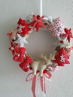Türkranz Weidenkranz Sterne aus Tilda Stoff Landhaus Weihnachten Advent Shabby de.picclick.com