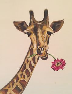 Giraffe with flower. Acrylic by Pippa