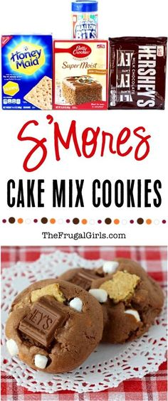 Smores Cake Mix Cookie Recipe! ~ from TheFrugalGirls.com ~ if you can't be out camping and making Smores over the campfire, these cookies are the next best thing!  Easy to make and SO yummy!!