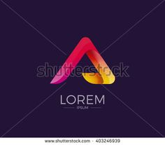 A Alphabet letter logo. Abstract Glossy Colorful logotype vector design template.