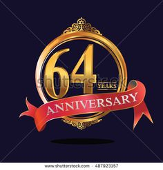 64 years anniversary golden logo with ring and soft red ribbon. anniversary logo for birthday, celebration, wedding, party