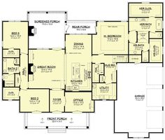 COOL house plans offers a unique variety of professionally designed home plans with floor plans by accredited home designers. Styles include country house plans, colonial, Victorian, European, and ranch. Blueprints for small to luxury home styles. Southern House Plans, Southern Homes, Southern Style, French Country House Plans, Southern Charm, Dream House Plans, House Floor Plans, Dream Houses, Brick House Plans