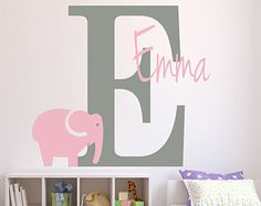 Wall Decal Name Wall Decal Nursery Wall Decor Baby Girl Elephant Personalized Name