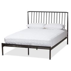 Baxton Studio Sabine Black Full Platform Bed at Lowe's. The Sabine platform bed has the simple, versatile design you've been looking for. The modern and contemporary-inspired design of this platform bed is a Black Queen Platform Bed, Queen Size Platform Bed, Full Platform Bed, Metal Platform Bed, Upholstered Platform Bed, Platform Beds, Headboard Designs, Baxton Studio, Headboard And Footboard