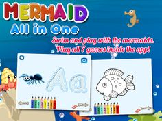 Mermaid All in 1 is compose of alphabet, mermaid puzzles, counting numbers, writing letters, mermaid mix and match game, mermaid memory pairs game, mermaid coloring book, painting.