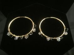 Gold Hoop Earring - Black & Clear Swarovski Crystal with 14k Gold by MJDesigns4You on Etsy