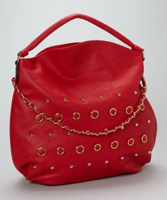 This roomy tote is the perfect weekday bag for today's busy woman. Featuring an interior zippered pocket and a chic fabric lining, this stud-adorned bag is perfect for storing snacks, makeup, wallet and a cell phone for a full workday. Beautiful Handbags, Purses And Bags, Fashion Accessories, Take That, Shoulder Bag, Chic, Cherry, Red, Baggage