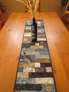 Batik Quilted Table Runner Earth   PatchworkMountain - Quilts on ArtFire